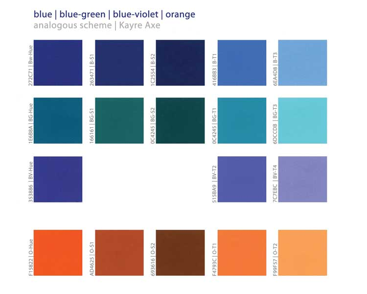 Analogous Theme Blue - Blue-green - Blue-violet - Orange